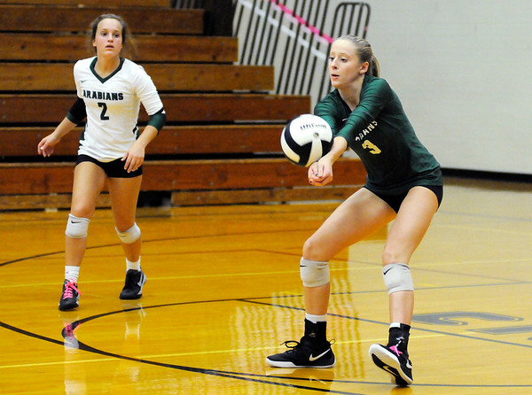Don Knight | The Herald Bulletin<br /> Pendleton Heights' Avery Ross passes the ball as the Arabians traveled to Alexandria on Wednesday.