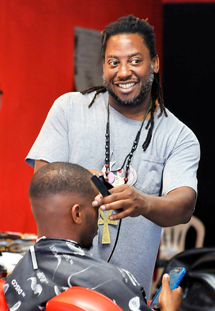 John P. Cleary   The Herald Bulletin<br /> Shannon Fuller owns Kulture S.H.O.K. Barbershop in Anderson.