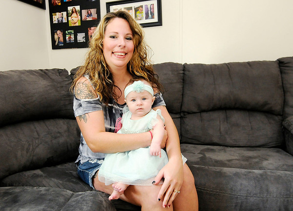 Don Knight | The Herald Bulletin<br /> Lindsey Bilbrey with her three-month old daughter Greenlee.