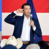Donald Trump Jr., eldest son of President Donald Trump, speaks at a rally Monday for U.S. Senate nominee Mike Braun, a Republican running against incumbent U.S. Sen. Joe Donnelly, and other Republicans on the Nov. 6 ballot.  The rally drew about 600 people to a hangar at Indianapolis Regional Airport neat Greenfield.