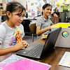 Don Knight | The Herald Bulletin<br /> Mia Villarreal Salazar uses her Chromebook in Brittany Gossard's 4th grade class at Anderson Elementary on Thursday.