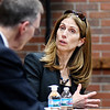 John P. Cleary | The Herald Bulletin<br /> Dr. Michele Malvesti, former senior director for Combating Terrorism Strategy, answers a question from university president John Pistole as she spoke to Anderson University students and staff Thursday about her career in national security.