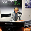 Don Knight | The Herald Bulletin<br /> Pendleton Heights student Chaston Green in the WEEM studio on Wednesday. The station will be hosting an open house on Tuesday to share with the public their remodeled studio.