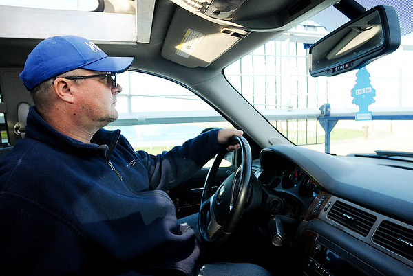 Don Knight   The Herald Bulletin<br /> Kevin Hudson drives the Chevy Avalanche that has been modified for use as a starting car at Hoosier Park on Tuesday.