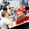 Don Knight | The Herald Bulletin<br /> Students in Brittany Gossard's 4th grade class at Anderson Elementary use their Chromebooks on Thursday. Clockwise from left are, Malakei Johnson, Jai'Twain Williams, Christopher Vazquez, Marvin Sandoval-Hernandez and Antwjuan Pittman.