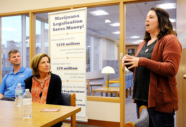 Don Knight | The Herald Bulletin<br /> Sylvia Kemp, a registered nurse diagnosed with multiple sclerosis 26 years ago, talks about how marijuana relieved her symptoms when she tried it while vacationing in Colorado during a meeting of the Indiana chapter of NORML, National Organization For the Reform of Marijuana Laws.