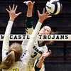 Pendleton's Avery Ross gets one of her 13 kills for the match against Greenfield-Central.