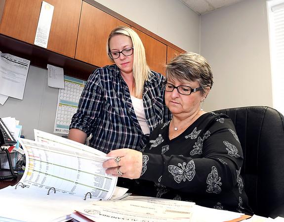 Alexandria Clerk-Treasurer Jill Scott, right, and her deputy Erika Hobbs go over the city's budget.
