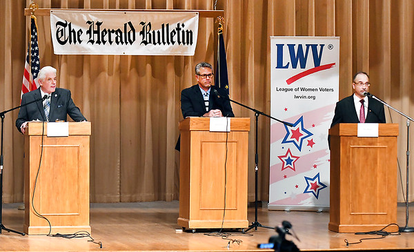 The three candidates for Anderson Mayor, Democrat incumbent Thomas Broderick Jr., left, Republican challenger Rick Gardner, center, and Rob Jozwiak, Libertarian challenger, participate in a Anderson Mayoral forum Thursday evening.