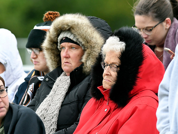 With the drastic drop in temperatures and a sharp northwest wind blowing, these spectators broke out the winter parkas Wednesday to watch the Anderson University women's soccer team take on Defiance on a blustery afternoon.