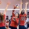 Liberty Christian's Elena Tufts, center, drives the ball between Frankton defenders, Chloee Thomas and Gabby Carmack.
