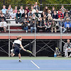 Jesse McCurdy, of Lapel, plays his IHSAA Singles State Finals quarterfinal match in front of a large crowd from Lapel.