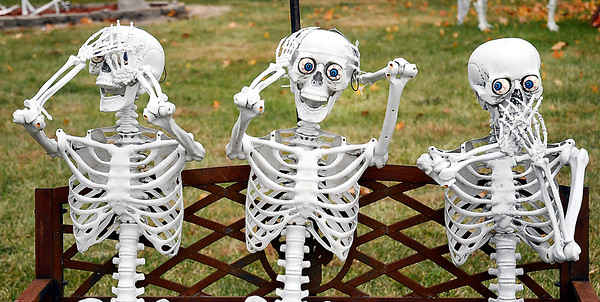 "As part of Lloyd and Gail Shinholt's Halloween display are these three ""See no evil, hear no evil, and speak no evil"" skeletons."