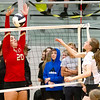 Liberty Christians Elena Tufts blocks the ball Thursday night as Liberty Christian traveled to Daleville.