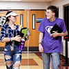 Frankton High School Best Buddies Jenna Smith, junior, and Harrison Ballinger, senior walk down the hall together after a Best Buddies activity at the school.