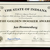 Jan Bronnenberg, recipient of The Golden Hoosier Award from the State of Indiana.