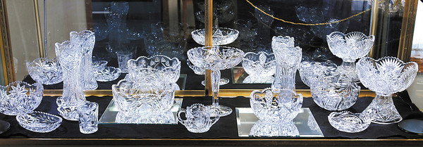 This is a display of cut glass made by Thomas W. Wright of the Wright Rich Cut Glass company of Anderson.  This is part of the new glass exhibit at the Madison County Historical Society.