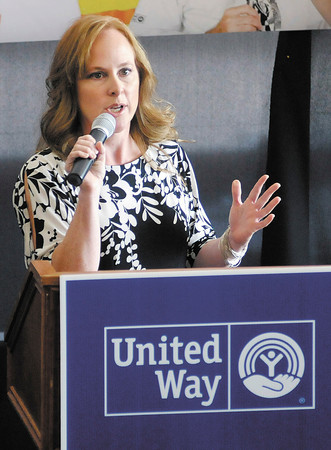 """Dana Donahue announces United Way's """"Bank On"""" program during the United Way of Madison County Community Campaign Kick-Off Event at Hoosier Park on Tuesday."""