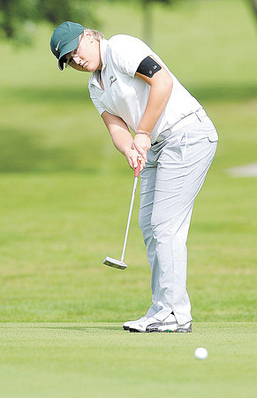 Pendleton Heights' Emily Tilton putts on the 16th green during the Golf sectional at Grandview on Saturday.