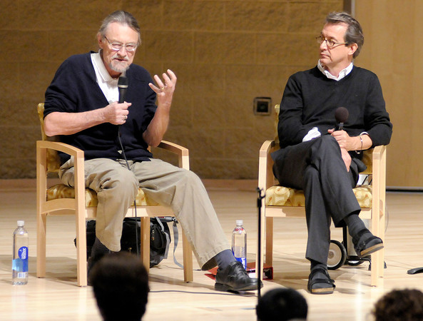 """From left, author Walter Wangerin and composer Randy Courts discuss collaborating and writing for children during a panel discussion that included an excerpt from the operetta """"Elisabeth and the Water Troll"""" during the Elizabeth York Children's Literature Festival at the York Performance Hall on Saturday."""
