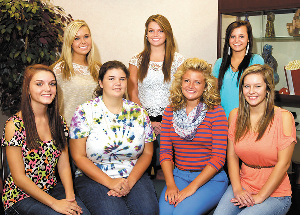 Pendleton Heights High School 2012 homecoming queen candidates are front row L to R: Desire Gibson, Erin Eacret, Jamie McCrocklin, and Caitlin Morgan.<br /> Underclass princesses are back row L to R: Sophomore Carissa Richwine, junior Jessica Tackett, and freshman Alexa Carr.
