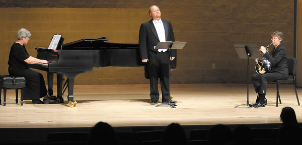 """From left, Dianne Sprunger, Fritz Robertson and Suzanne Rice perform """"Still Falls the Rain"""" by Benjamin Britten during a Gala Concert to mark the dedication of the York Performance Hall and Galleries at Anderson University on Saturday."""