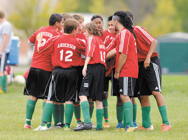 Anderson's junior varsity soccer team huddles before facing Pendleton Heights in Pendleton on Wednesday. Read about the varsity match on today's B1.