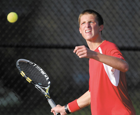 Frankton's Lucas Boltreturns a shot in his #2 singles match with Alexandria in the first round of the boys tennis sectional.