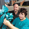 Elynne Gaffney and husband Tom put up teal ribbons around Elwood for Ovarian Cancer Awareness Month.