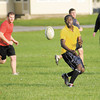Raymond Litondo, an MBA student from Kenya, passes the ball as the Anderson University Rugby team practices on Thursday. The team will play this Saturday at 1 p.m. on the pitch located at the intersection of 5th Street and Nursery Road.