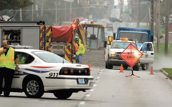 West 38th Street was closed due to a gas leak Friday.  Anderson city water department crews were doing repairs and struck a 2-inch gas line that serves Red Bud Estates.
