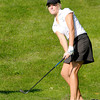 Lapel's Meg Fields chips into the seventh green at Grandview as Anderson faced Lapel on Wednesday.