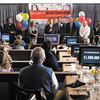 Surrounded by 2012 Campaign Committee Members, United Way 2012 Campaign Chairperson Jim Brown announces the fundraising goal of $1,000,000 during the United Way of Madison County Community Campaign Kick-Off Event at Hoosier Park on Tuesday.
