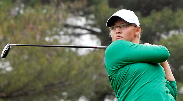 Emily Tilton watches her tee shot at the IHSAA Girls' Golf State Finals held at the Legends in Franklin, Indiana.
