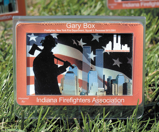 The Anderson Fire Department put out 50 911 memorial plaques, honoring fallen firefighters from the terrorist attacks, in the front yard of headquarters for the 9/11 anniversary.  They said that they recognize a few to honor many.  343 firefighters died that day at the World Trade Center.