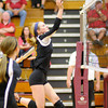 Don Knight/The Herald Bulletin<br /> Alexandria's Abigail Miller sends the ball over the net as the Tigers hosted Wapahani on Thursday.