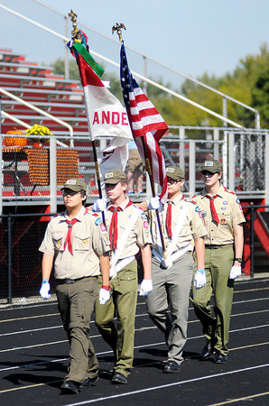 Don Knight/The Herald Bulletin<br /> Boy Scout Troop 301 from St. Ambrose presented the colors during the St. Vincent de Paul Walk for the Poor fundraiser at Highland Middle School on Saturday.