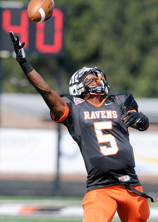 Don Knight/The Herald Bulletin<br /> Anderson University wide receiver Willie Robinson reaches for a pass but is unable to pull it in as the Ravens hosted Defiance on Saturday.