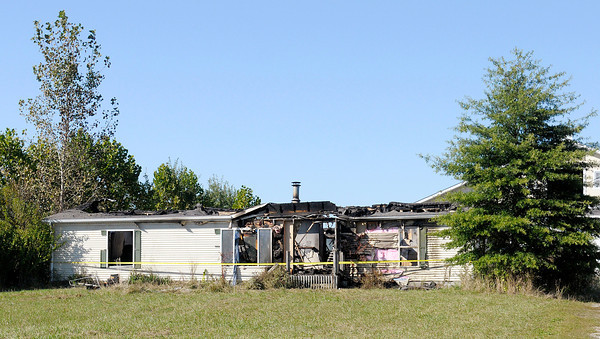 Don Knight/The Herald Bulletin<br /> Home destroyed by fire on County Road 400 North.