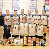 Don Knight/The Herald Bulletin<br /> Madison-Grant poses with the county tournament trophy after defeating  Pendleton Heights 2-0  in the finals on Saturday in Elwood.