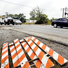 The barricades are ready to go up as CSX plans to close Scatterfield Road at their RR crossings starting Monday for three weeks as they do grade crossing repairs.