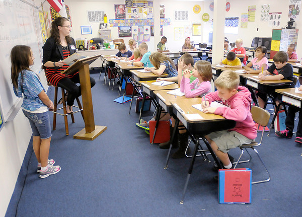 Don Knight/The Herald Bulletin<br /> Sarah Denniston's fourth grade class goes over a history review at Liberty Christian on Wednesday. ISTEP test results were released by the state on Wednesday.