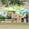 Don Knight/The Herald Bulletin<br /> A patient from an accident on Indiana 38 east of County Road 100 East is loaded into a StatFlight medical helicopter in a landing zone at East Elementary on Thursday.