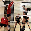 Photo by Chris Martin for The Herald Bulletin<br /> Lapels Gabby Cherry gets a spike by Anderson's Sierra Cunningham Wednesday night at home.
