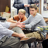 John P. Cleary | The Herald Bulletin<br /> Frankton Jr.-Sr. High School history teacher Kevin Cline has a discussion with some of his world history students.
