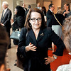 John P. Cleary | The Herald Bulletin<br /> Loretta Rush, chief justice of the Indiana Supreme Court, talks with students and staff at a reception after giving a talk for Constitution Day.