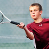 John P. Cleary | The Herald Bulletin<br /> Alexandria #3 singles player Sam Hensley returns a shot during his match with AHS.