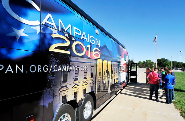 John P. Cleary   The Herald Bulletin<br /> C-Span's 45-foot customized bus visits Anderson High School Monday.