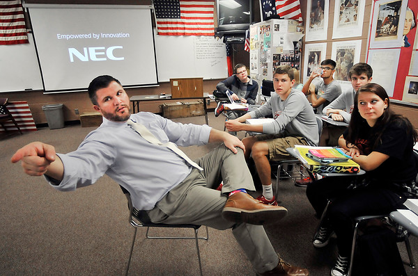 John P. Cleary | The Herald Bulletin<br /> Frankton Jr.-Sr. High School history teacher Kevin Cline calls on one of his students during his world history class this past week. Cline has been named the 2016 National History Teacher of the Year by Gilder Lehrman Institute of American History.