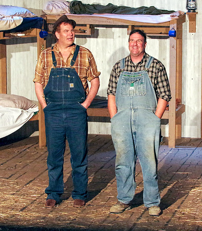 """Mark Maynard   for The Herald Bulletin<br /> Lennie (Daniel Clymer) and George (Andrew Persinger) talk about the farm they want to buy in Anderson's Mainstage Theatre's production of """"Of Mice and Men."""""""